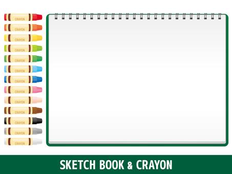 Simple sketchbook and crayon set