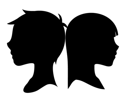 Boys and girls (silhouette)