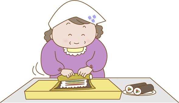 Grandma making a rolled sushi