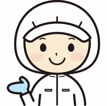 Sanitary lab coat woman guiding