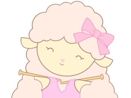 編み物をするピンクのひつじちゃん_02