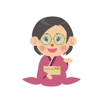 A woman wearing a kimono (sitting seat / glasses)