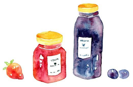 Strawberry jam and blueberry jam watercolor