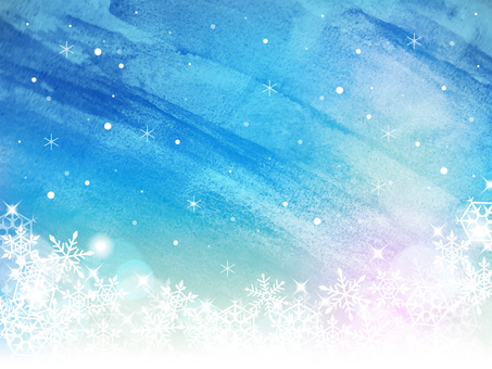 冬/水彩風フレーム01/雪の結晶