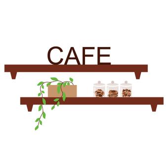 Cafe-like interior (wall shelf)