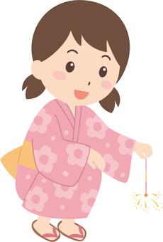 Girls | Yukata | Festivals | sparklers fireworks