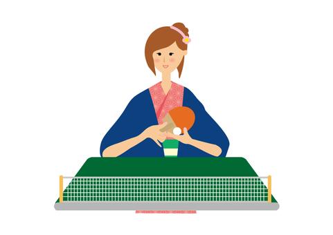 Hot spring yukata table tennis woman