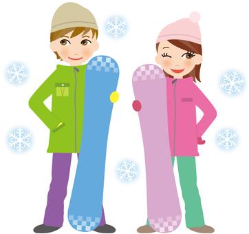Snowboarding couple
