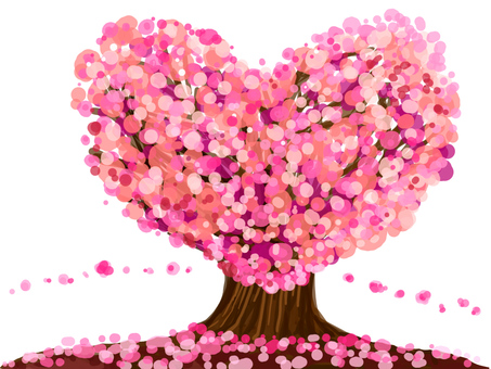 【Cherry blossoms】 Heart type tree 【wallpaper】