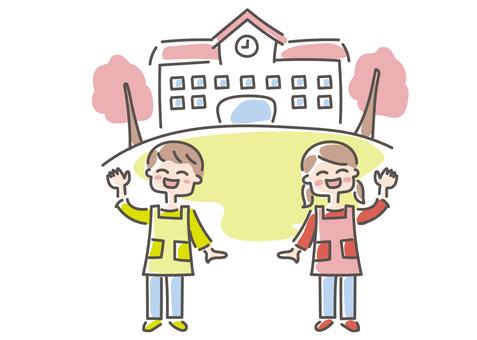 保育園 幼稚園 園舎と保育士さん