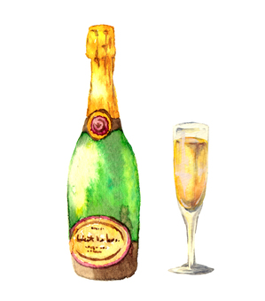 Champagne watercolor painting