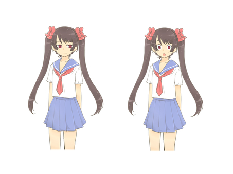 Sailor uniform twin tail girl standing picture list 02