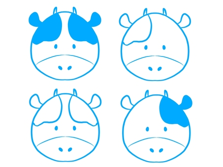 Cow line drawing set