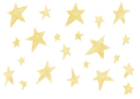 Postcard water color star set