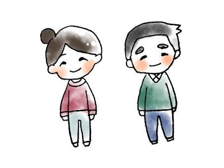 Watercolor style father and mother