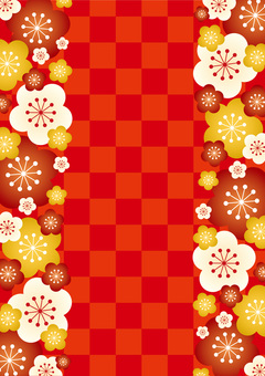 Ume checkered red left and right vertical position