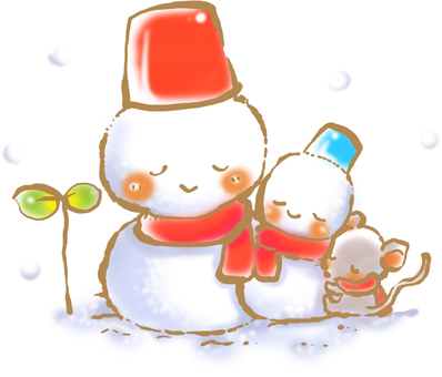 Snuggling snowman with mouse