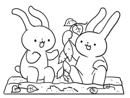 [흑백] 고구마 파기 토끼 [선]