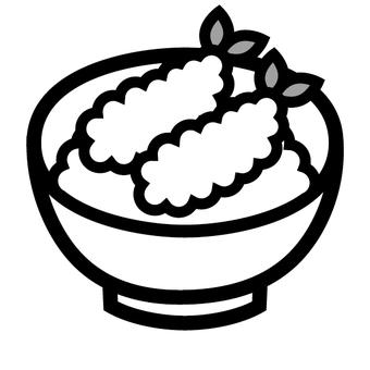 Tennis bowl icon Shrimp tempura rice meal