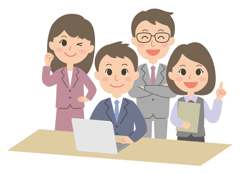 Male and female office worker group 03