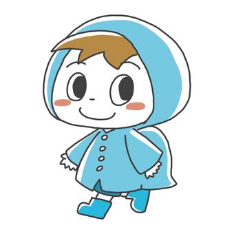 Illustration of a boy attending school in the rain