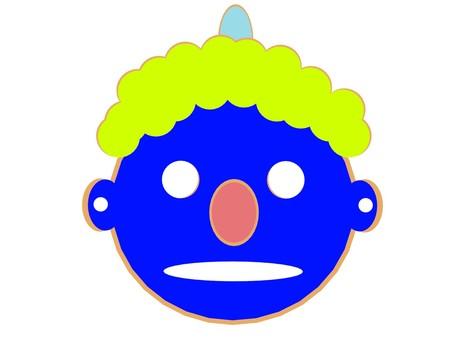 Demon's face _ Tsuno 1 _ blue