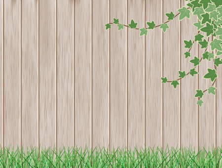 Wood grain background and plant