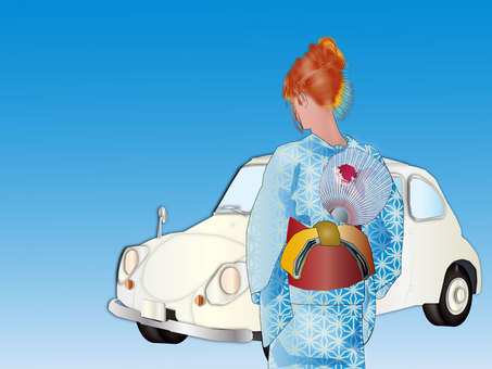 Yukata women and cars 03