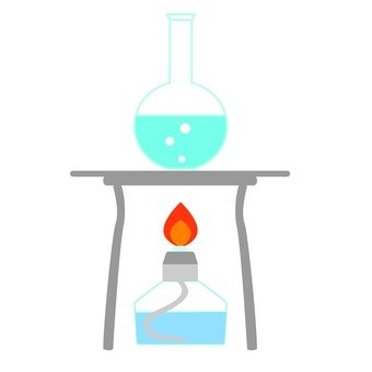 Laboratory alcohol lamp and round bottom flask