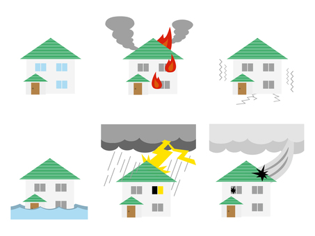 House and disaster illustration set