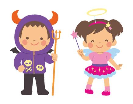 ハロウィンの子どもたち 天使と悪魔