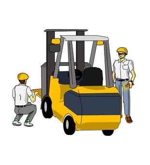 Checking forklift