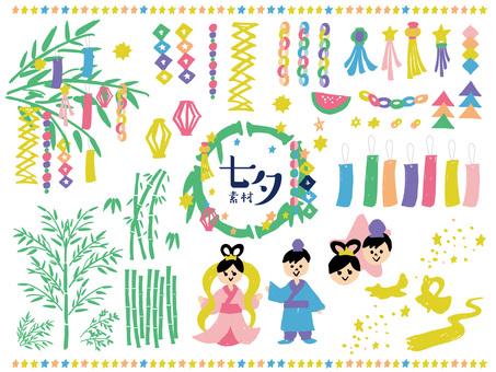 Hand-painted yurukawa tanabata material