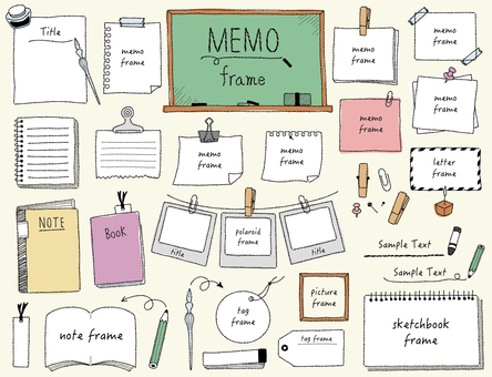 Hand-drawn frame set 03_ memo (color)