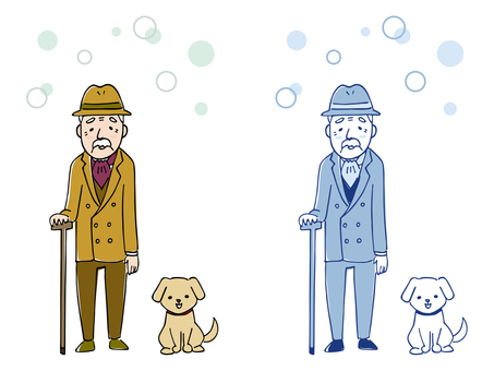 Fashionable old gentleman and dog / hand drawn