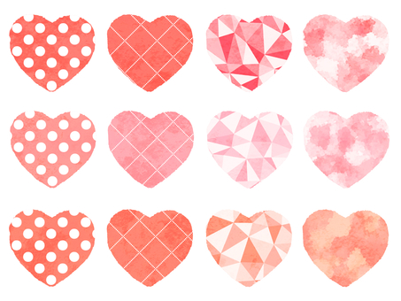 Watercolor gradient heart various patterns