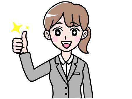 Good sign thumbs up woman in suit