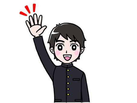 School run boy student raising hand announcement
