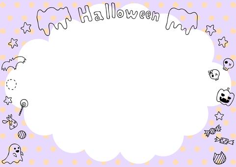 Halloween frame balloons dot background
