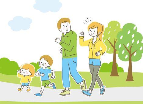 산책하는 가족