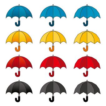 雨傘のイラストカットセット/線つき