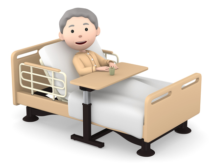 Senior woman in nursing bed