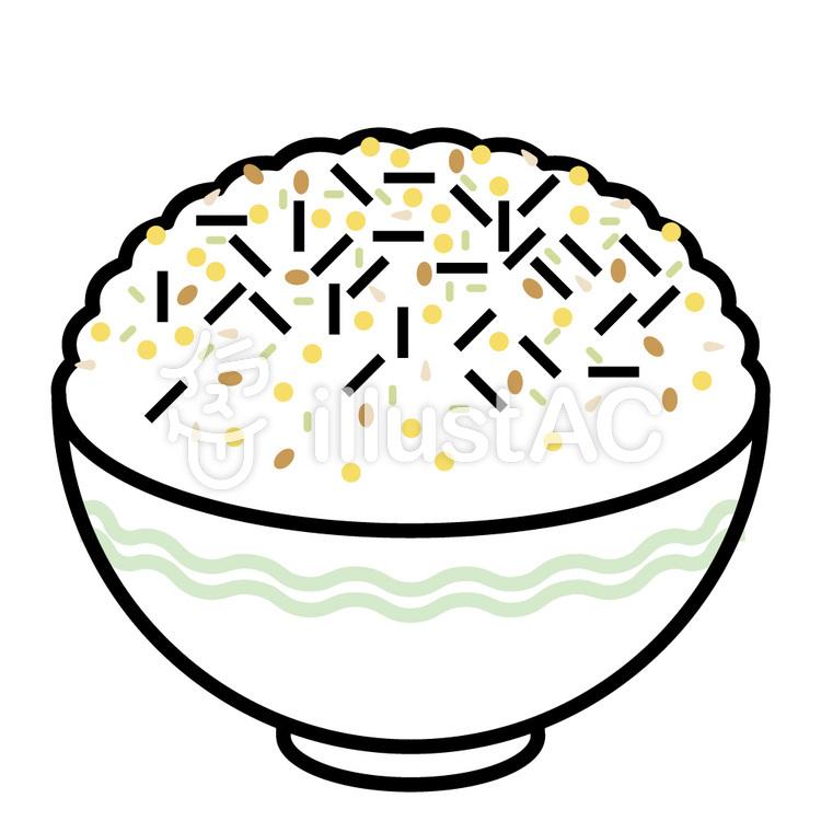 茶碗入りのふりかけごはん 波模様イラスト No 284528無料イラスト