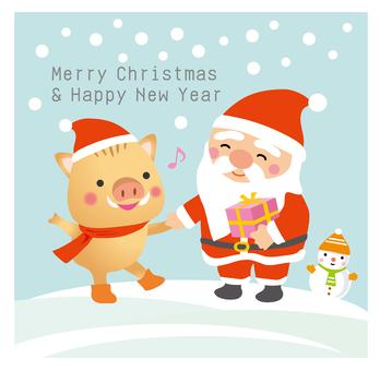 サンタと干支の猪くんとの出会い