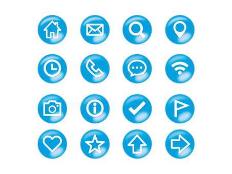 Button style icon set (blue)