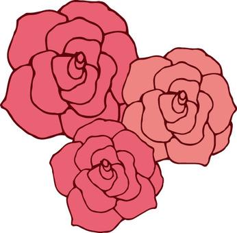 Flower (3 roses / pink)
