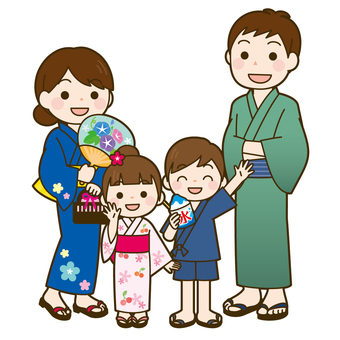 Family wearing a yukata