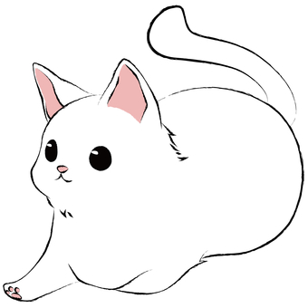 One-footed incense box sitting cat (white cat)