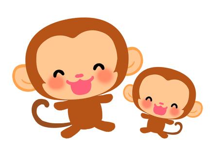 微笑的猴子父母和孩子的插圖1