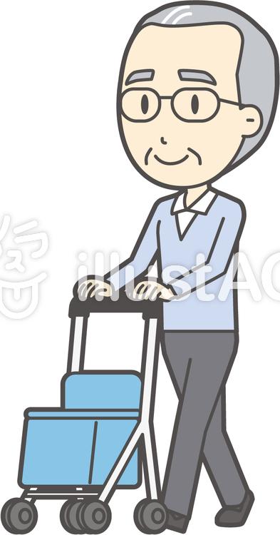 高齢ブルー男性-290-全身のイラスト
